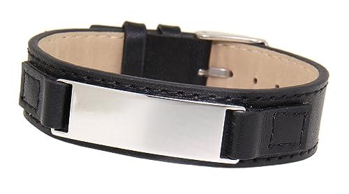 Schmales Leder-Armband mit Gravurplatte aus Edelstahl, glänzend, für Damen und Herren