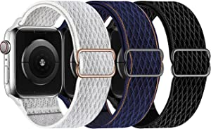Swhatty Stretchy Nylon Solo Loop Bands Compatible with Apple Watch 44mm 40mm 42mm 38mm, Adjustable Stretch Braided Sport Elastics Women Men Strap for iWatch Series 6/5/4/3/2/1 SE, Pack of 3