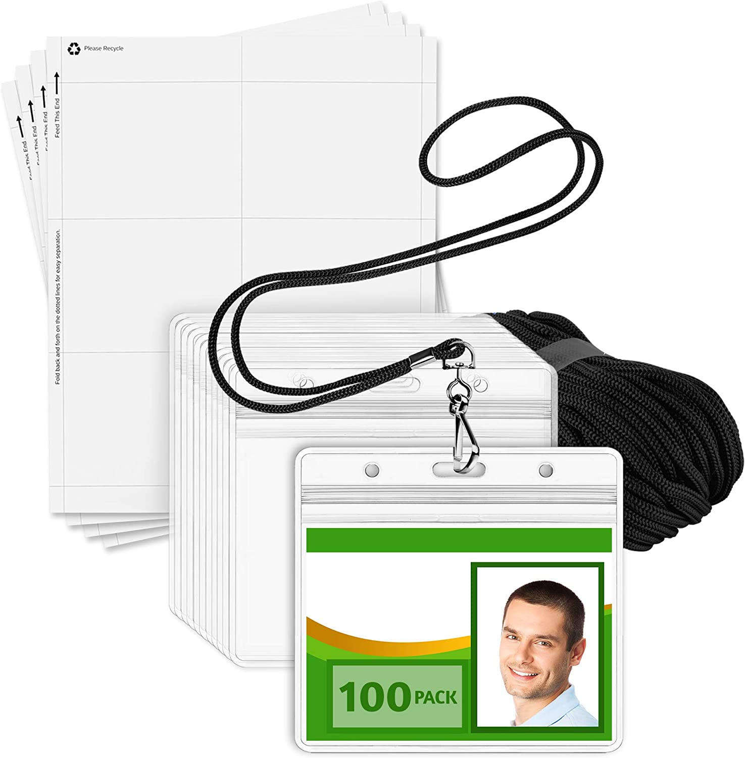 Black Lanyards, Clear 3x4 Tag Holders, 100 Pack EcoEarth ID Badge Holder with Lanyard and Paper Kit 3-Piece Set of Plastic Pouch and Name Card All-in-One Lanyard
