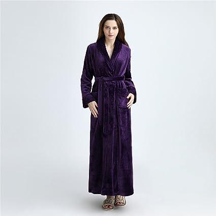YAN Vestido de Mujer Franela Lujo Terry Toweling Batas de baño Batas Batas de casa +