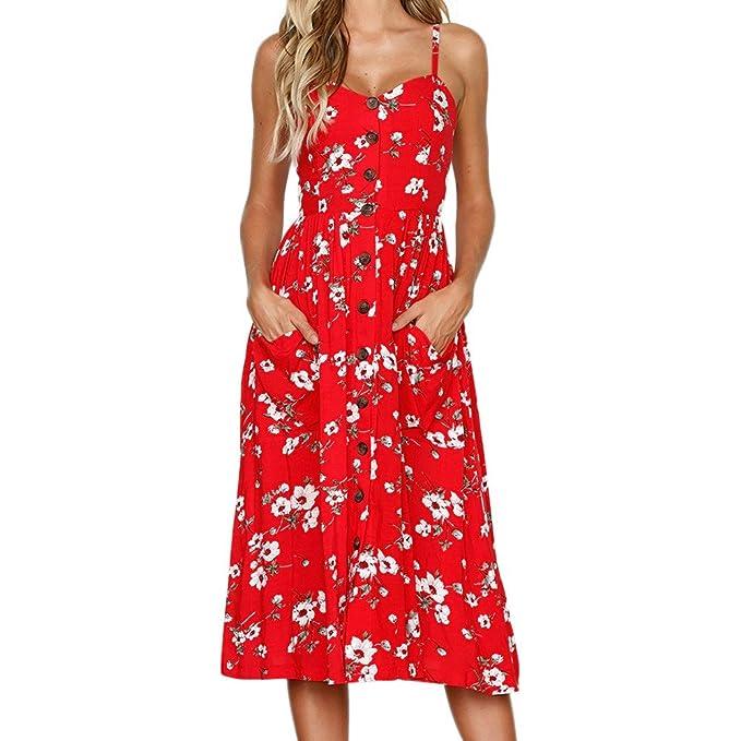 ChallengE Vestito Lungo Donna Elegante Senza Manica Mini Vestiti da stampa  Casual Cerimonia Donne Estivo Abiti 14712fde228