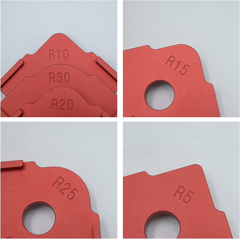 RELMON 3 Pack Radius Jig Router Templates Aluminium Alloy Radius Corners R5 R10 R15 R20 R25 R30 for Woodworking Routing