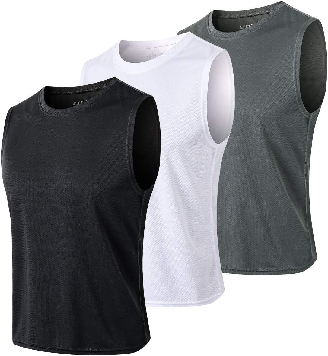 T-Shirt sans Manches Maillot Running Tee Shirt pour Sports Jogging Musculation MEETYOO Debardeur Homme
