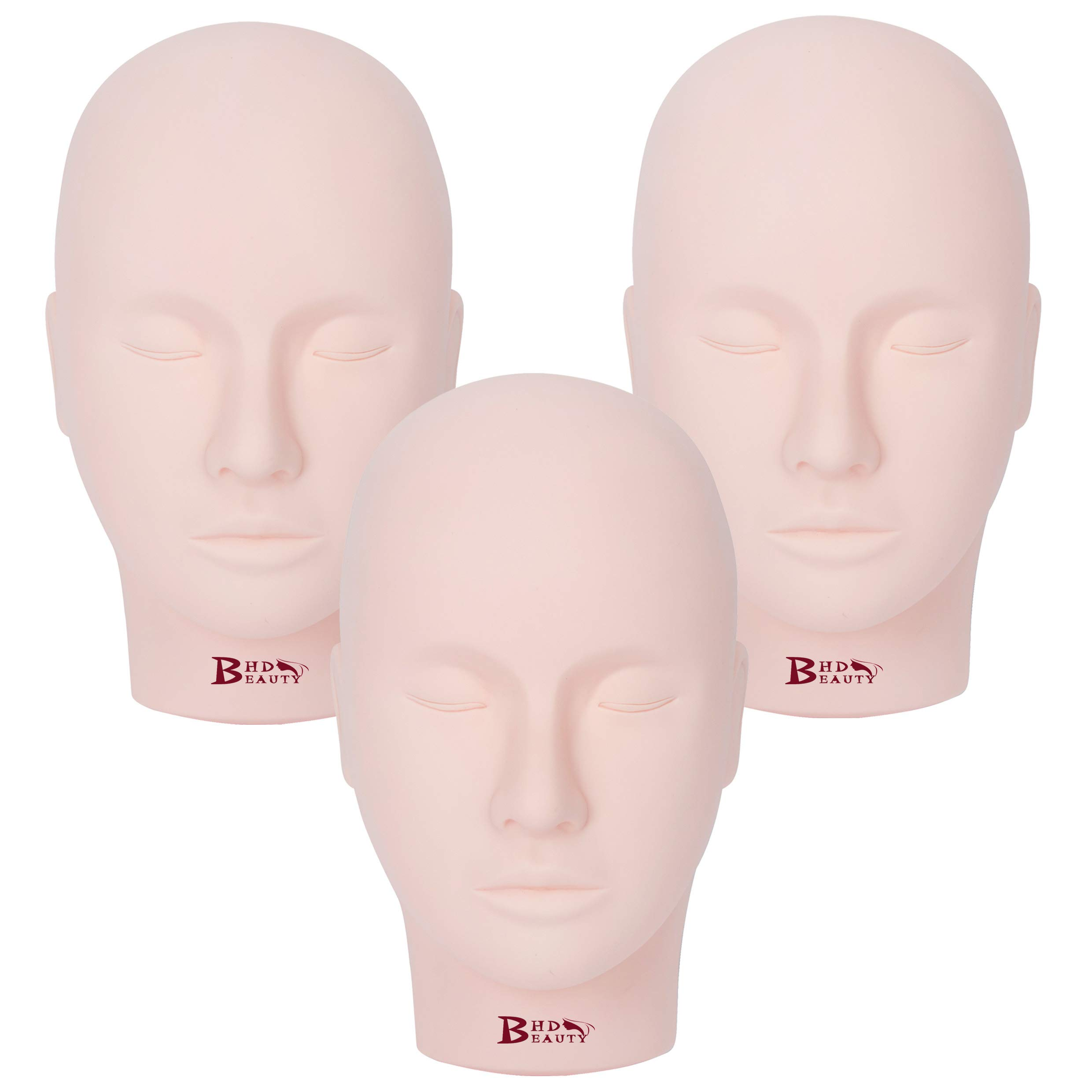BHD BEAUTY Eyelash Practice Training Head for Makeup Cosmetology Beige Flat Soft PVC Material Head 3PCS with Mount Hole