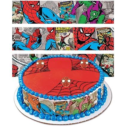 Groovy Spiderman Designer Prints Cake Edible Image Amazon Com Grocery Funny Birthday Cards Online Alyptdamsfinfo
