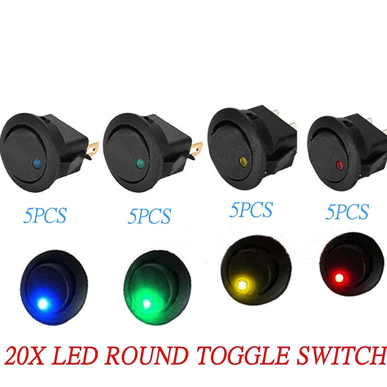5x 3 Pin Led Dot Light 12V Car Auto Boat Round Rocker ON//OFF Toggle SPST Switch