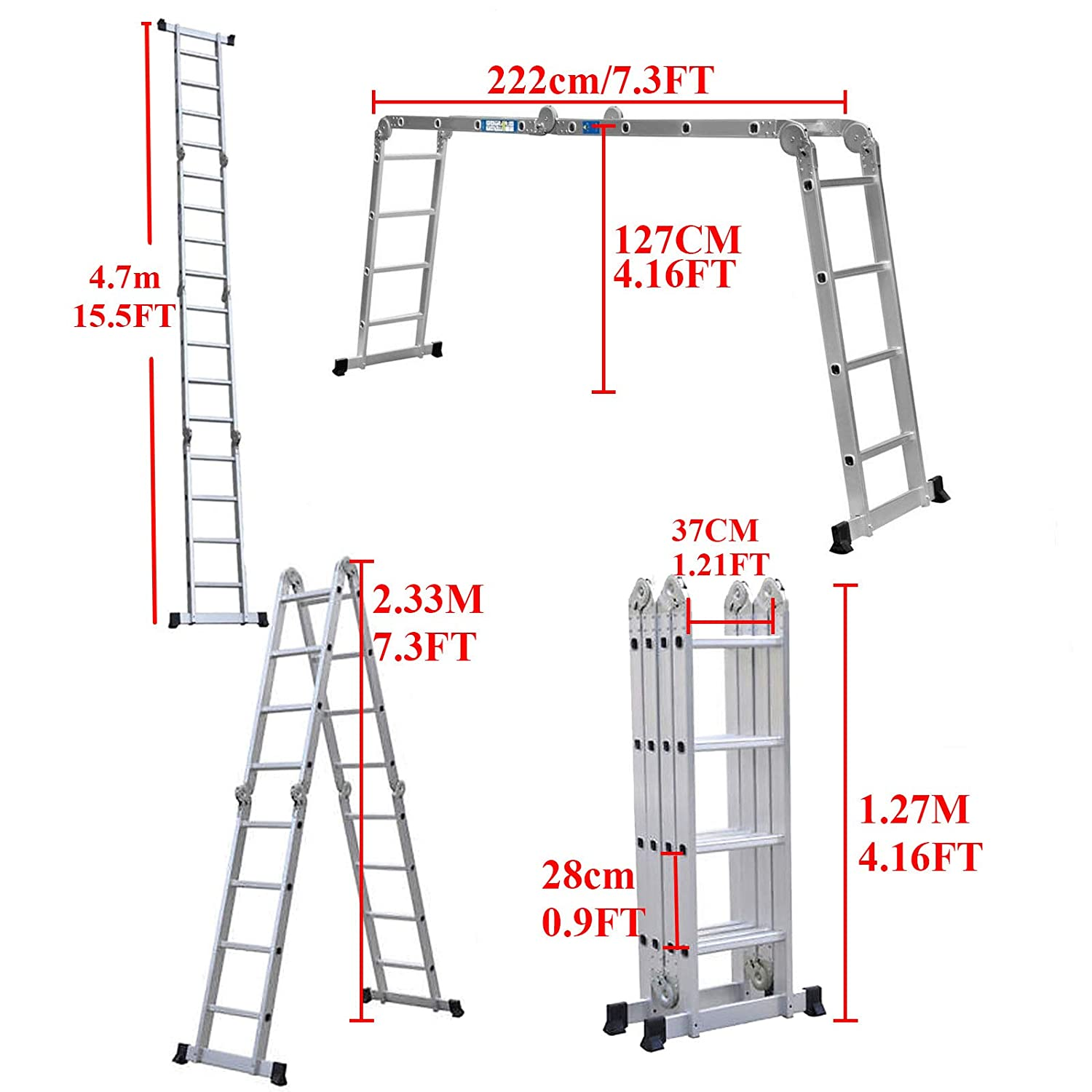 330lb ZhanGe Adjustable Aluminum Lightweight Ladder 10.5FT Telescopic Telescoping Folding Tall Portable Climb Home Extension Ladder Compact Multi-Purpose Straight Collapsible Ladder Max.Load 150kg