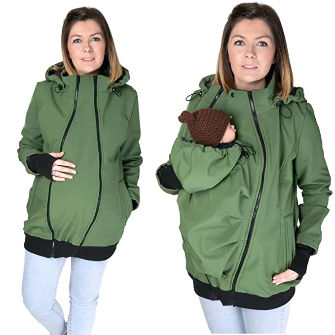 d37d9b1419b96 3in1 ALL WEATHER Softshell Babywearing jacket maternity coat BABY CARRIER  KHAKI NP16 (M - US8