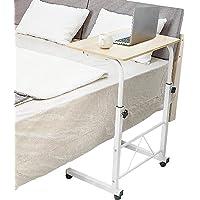 9SHOME Portable Mobile Laptop Desk Cart Adjustable Height Mobile Laptop Stand Rolling Computer Desk Table Bedside Table…