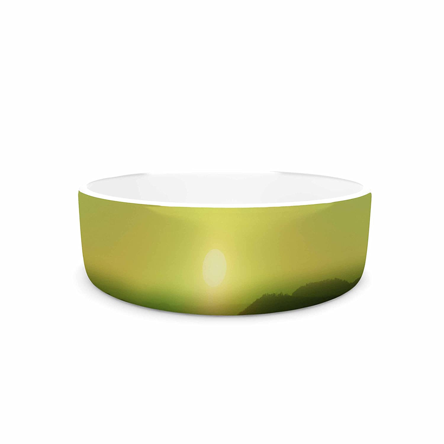 KESS InHouse Viviana Gonzalez Pastel Vibes 51 Greenery Green Yellow Photography Pet Bowl, 7