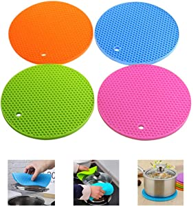 4 Pcs Large Honeycomb Silicone pad, High Temperature Resistant, Heat insulation and Antiskid pot Mat, Used for Auxiliary Bottle Opener. Cup insulation Pad, Pot Pad, Lndispensable Helper in Kitchen an