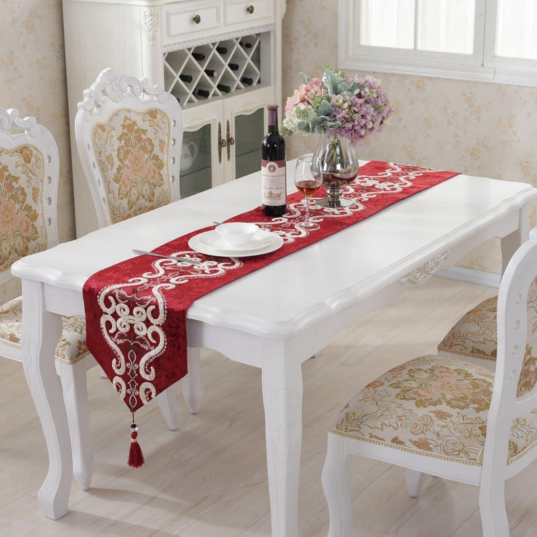 Rouge luxe velours broderie gland d/écoration chemin de table 33cm x 180cm 12.5*70