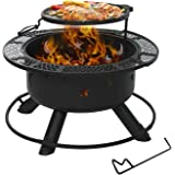 Aoxun 32'' Outdoor Wood Burning Fire Pit Backyard with Cooking Grill, BBQ Grill Large Firepit Bowl Round Steel Fireplace…