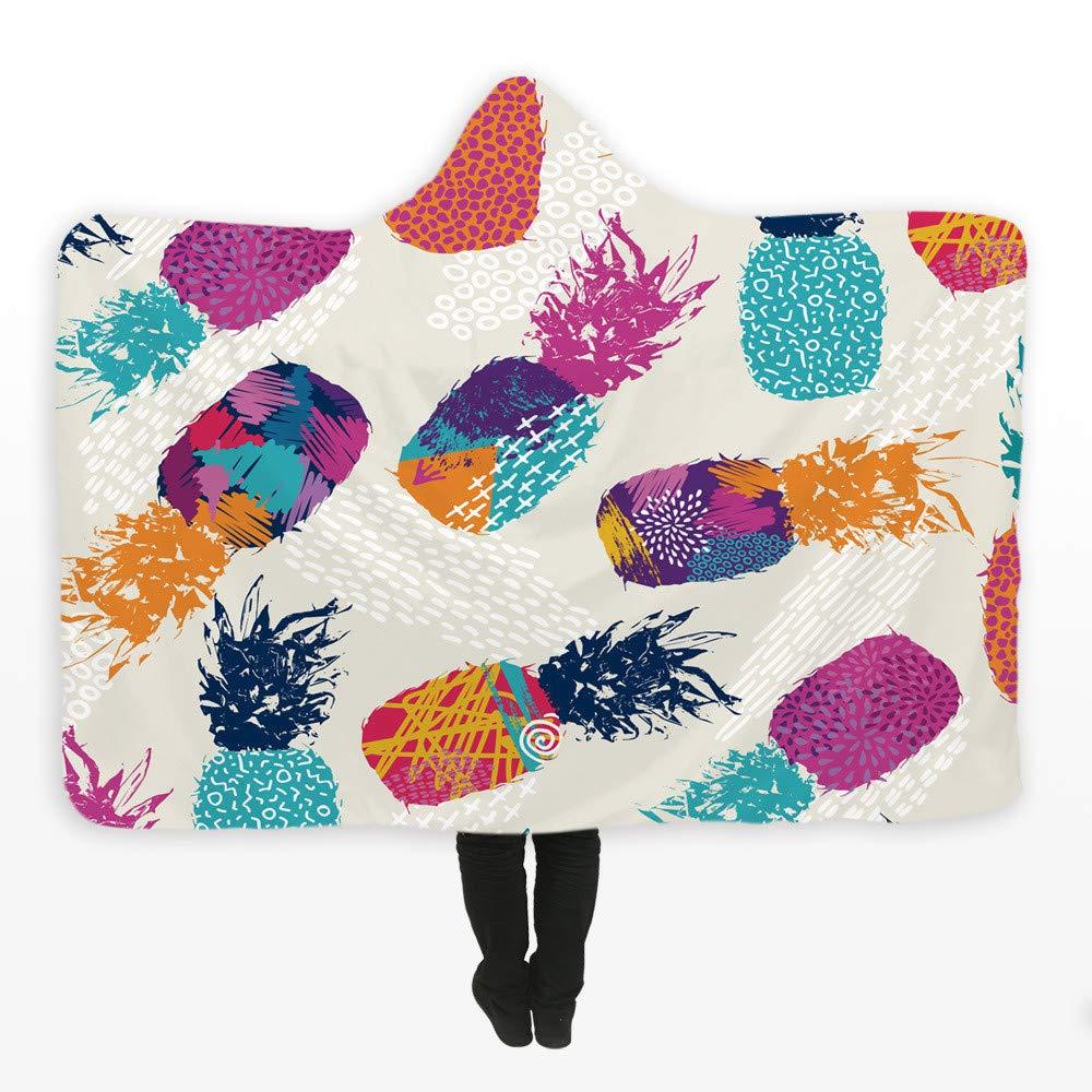 QR-tapestry Manta Infantil Manta de la Siesta Manta Encapuchada Fruta Tropical Color piña impresión Digital 3D