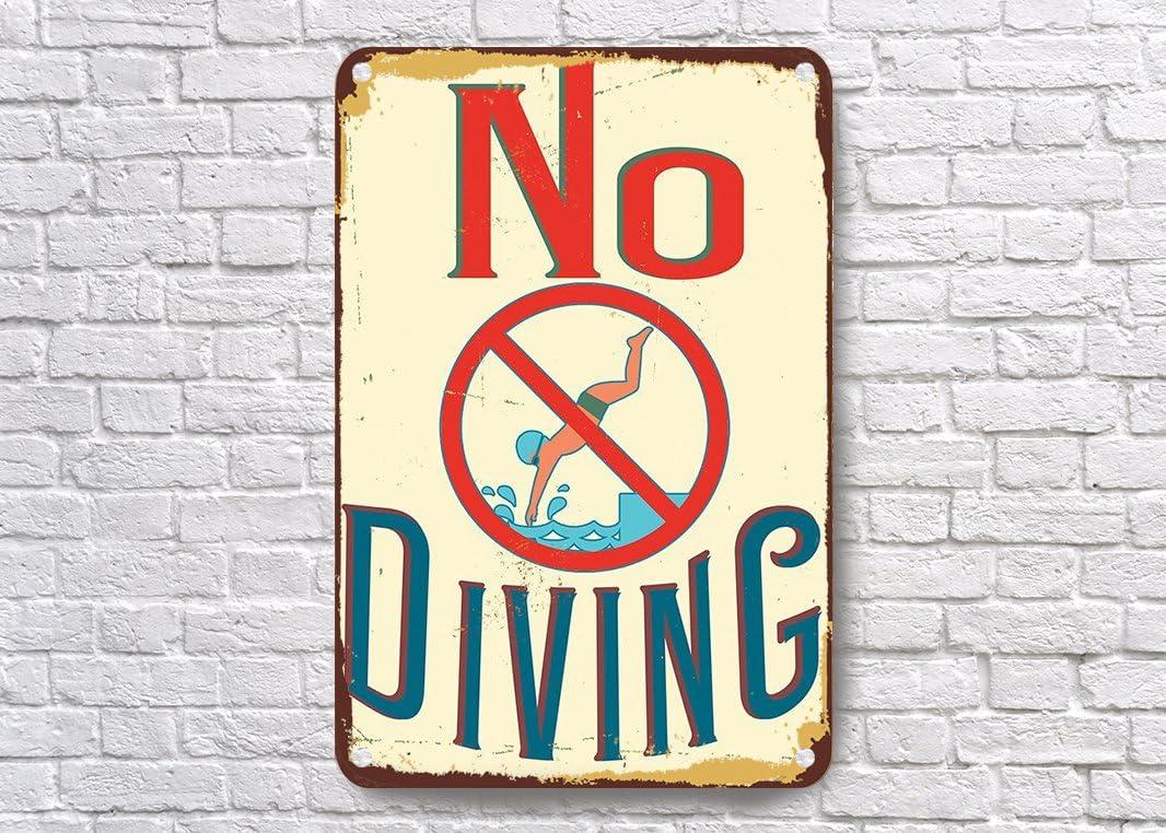 VictorJoan Piscina señales, no buceo Sign, estilo vintage no buceo señales, señal de piscina, piscina al aire libre signos, piscina Decor, no buceo Metal Tin Sign 16x 12pulgada.