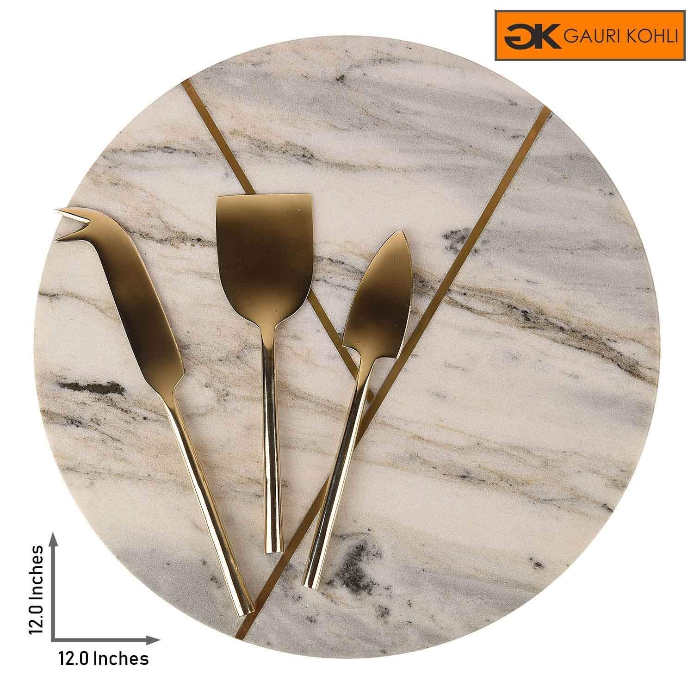 GAURI KOHLI 美しい大理石&真鍮製チーズボード/チャコテリー大皿 3個入り 真鍮製チーズナイフのセット (Lサイズ | 丸型 | グレー色)   B07K5R37S2