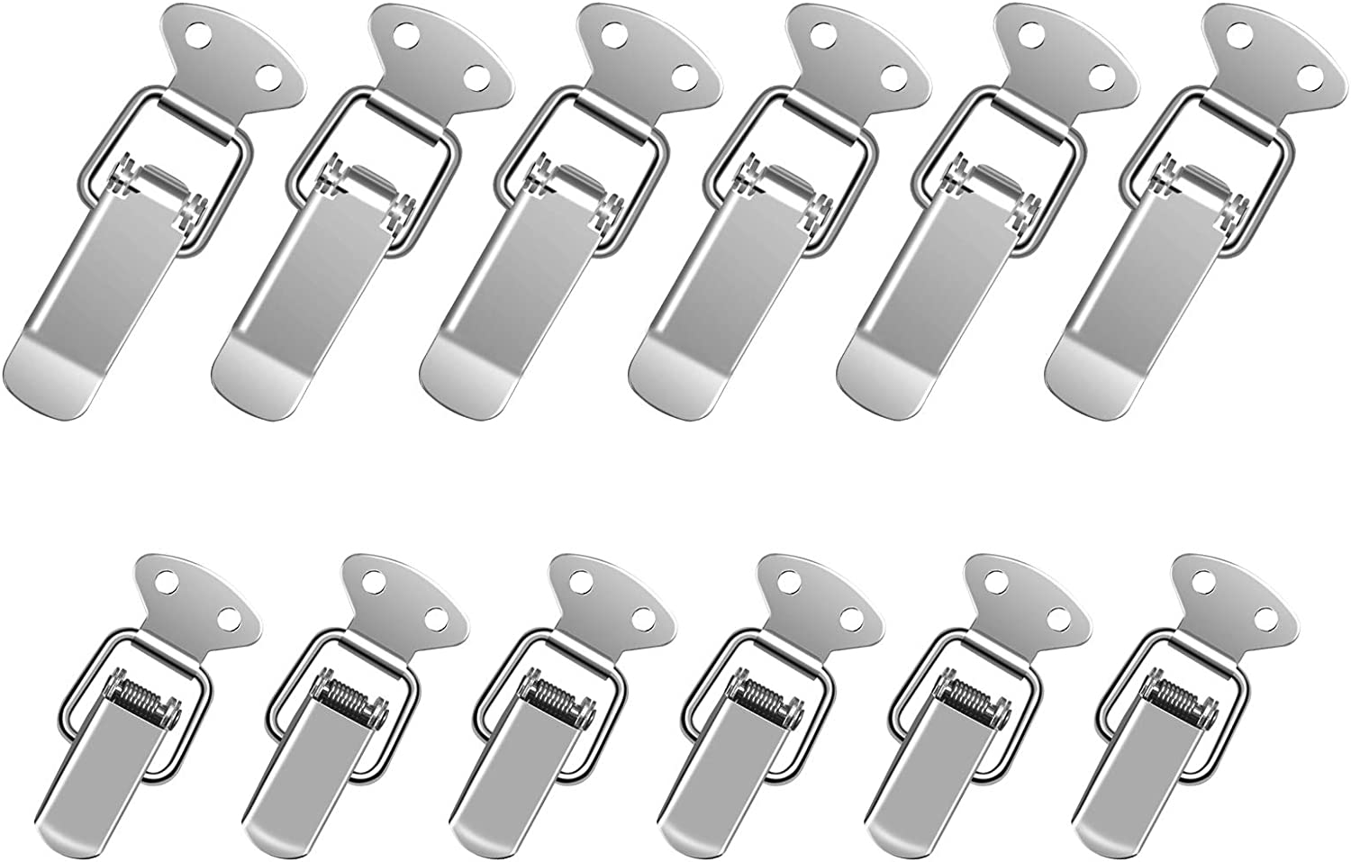 LANMOK 12 Sets Spring Loaded Toggle Latches Stainless Steel Catch Clamp Clips Furniture Hardware Toggle Switch Hasp Clamps for Case Toolbox Drawer Chest Trunk Cabinet Closet Lockers