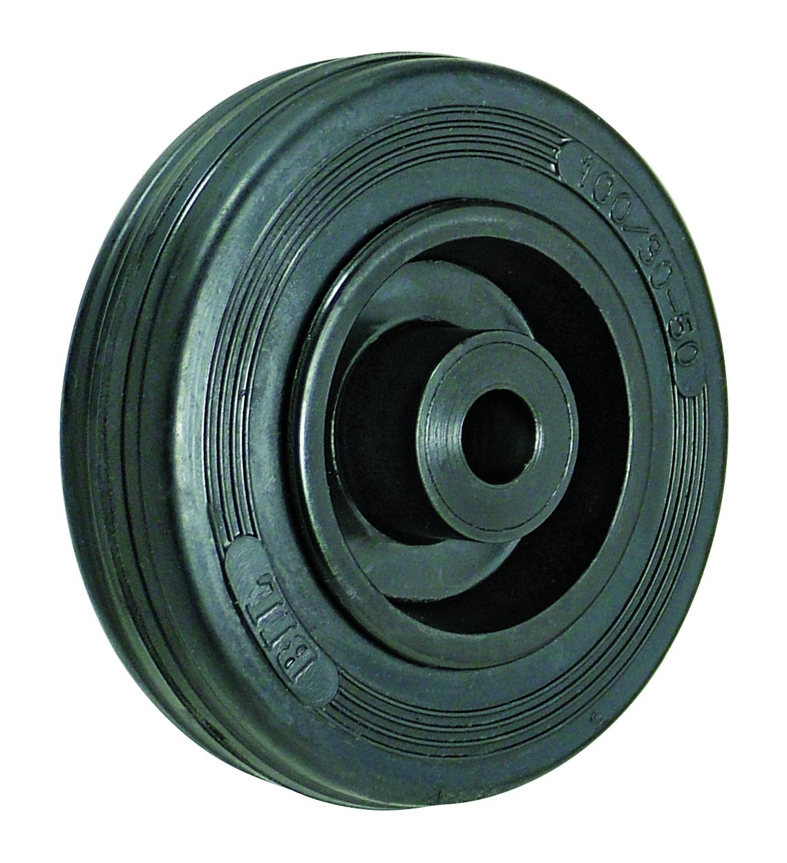BIL BZMM125WPSRB Series WPS Wheel, Rubber On Polypropylene, 125 mm Diameter, 37.5 mm Tread, 40 mm Hub, 12 mm Bore, 90 kg Load, Black BIL Group Ltd