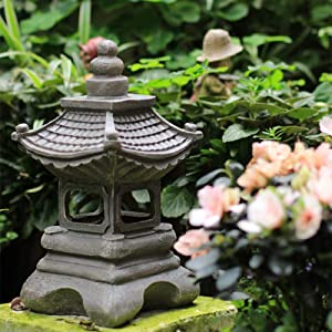 OwMell Japanese Style Asian Decor Pagoda Lantern Indoor Outdoor Statue Zen Garden 13 Inch Resin