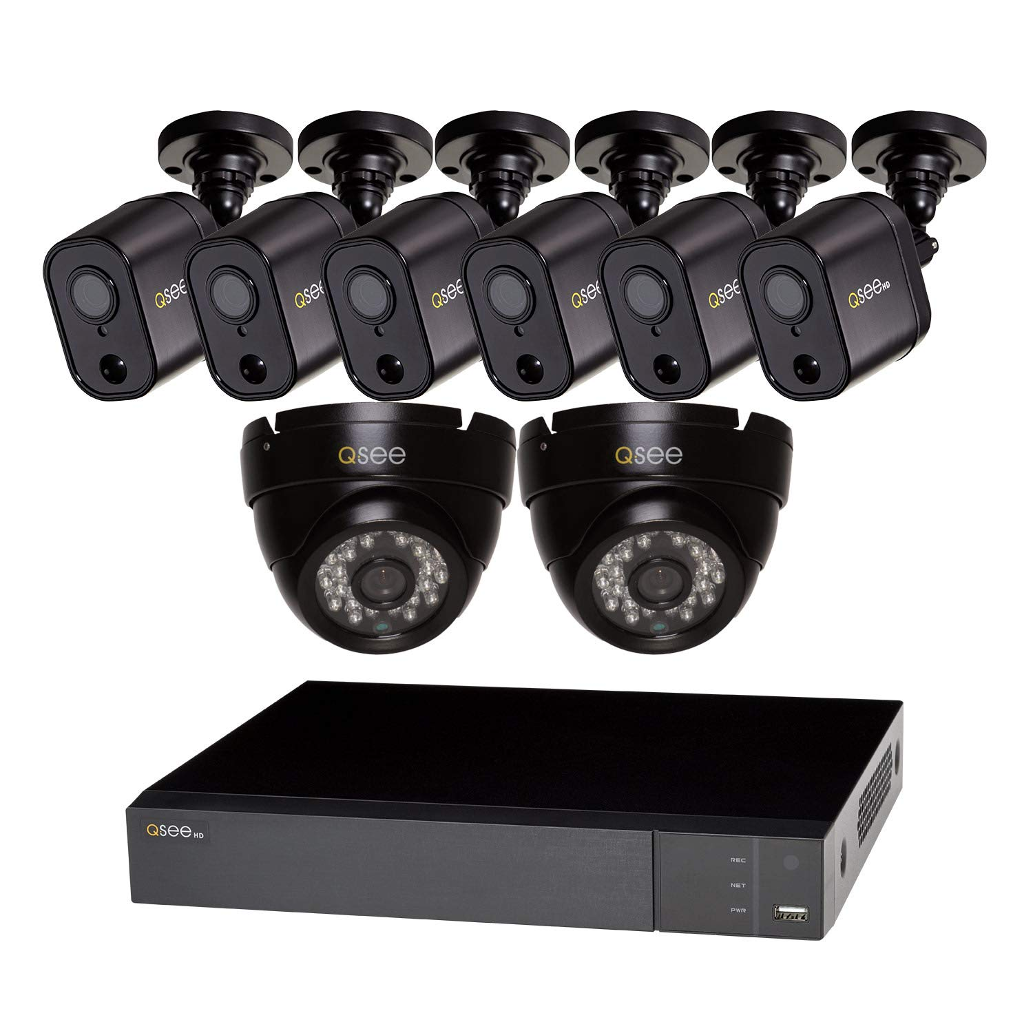 1080P HD PIR Bullet Cameras, Night Vision Indoor//Outdoor 2 Q-See Home Security System BNC 4 App 8-Channel 1080p PIR Analog HD DVR with 720P Dome Cameras and 1TB HDD