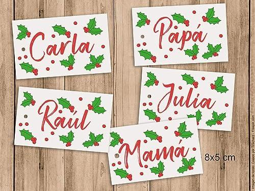 Etiquetas para los regalos de Navidad con nombre. 8x5cm. Pack de 5 ...
