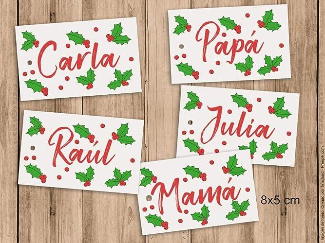 Etiquetas para los regalos de Navidad con nombre. 8x5cm. Pack de 5 unidades.: Amazon.es: Handmade
