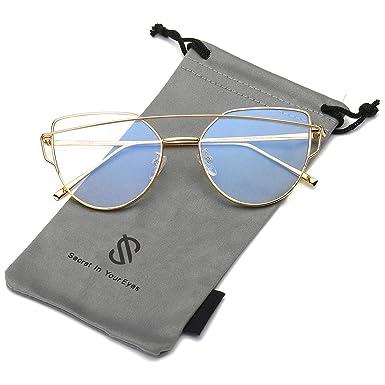 SOJOS Gafas De Sol De Moda Marco Metal Para Mujer-Lentes Planos De Espejo- Con Estilo Ojo De Gato SJ1001