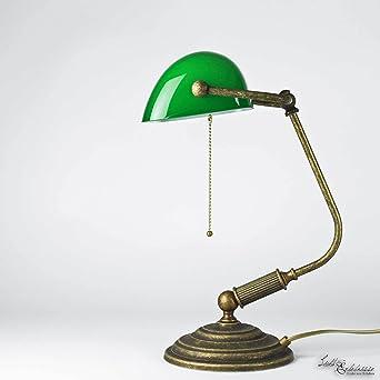 Tischlampe Antik Bronze Glas Grun Echt Messing Zugschalter Vintage