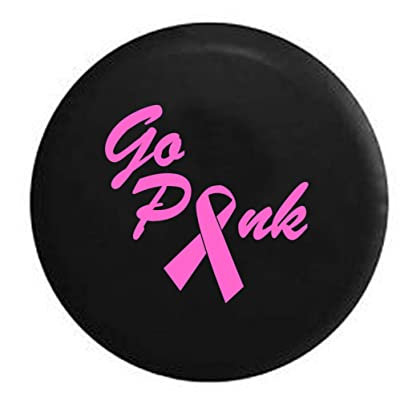 Pink Breast Cancer Ribbon 4x4 Girl Spare Tire Cover (Fits: Jeep Wrangler Accessories or SUV RV Camper) Black Size 33 in: Automotive