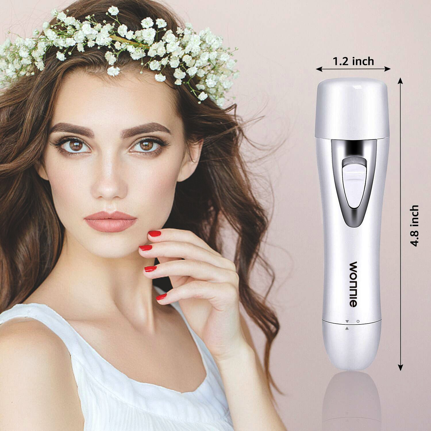 Lady Shaver 4 in 1 Facial Hair Removal for Women Painless Flawless Epilator Waterproof Electric Ladies Razor USB Rechargable Eyebrow Trimmer/Face Trimmer/Nose Hair Trimmer/Bikini Hair Trimmer White