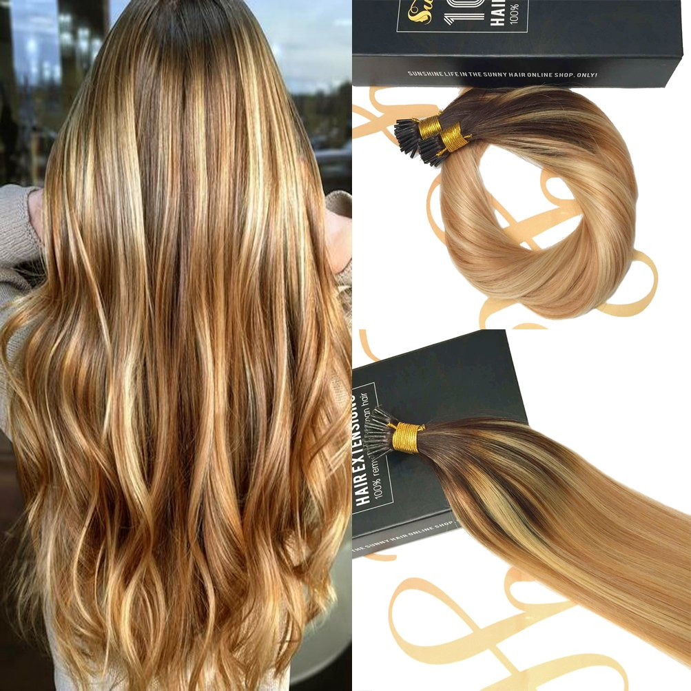 Amazon Sunny 16inch Cold Fusion I Tip Balayage Hair Extensions