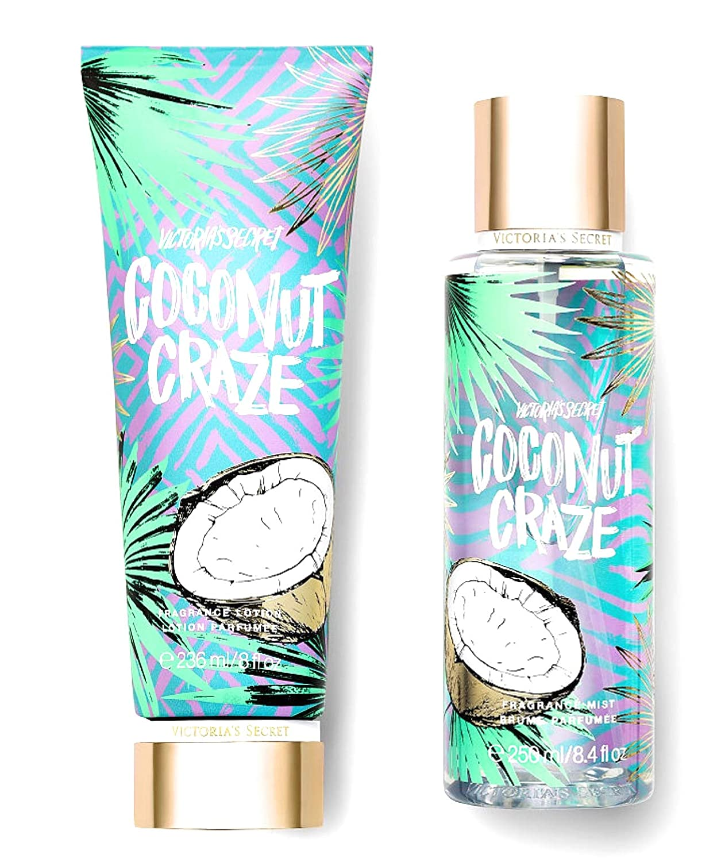 Victorias Secret Juice Bar Fragrance Mist and Lotion Set (2PC) New Summer Splash - 8.4 fl oz & 8 fl oz (Coconut Craze)
