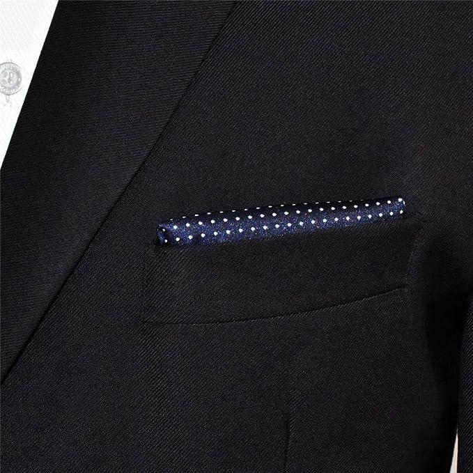 Shlax&Wing Hombre Clásico Traje De Negocios Seda Pañuelo De Bolsillo Para Azul Blanco Puntos 12.6