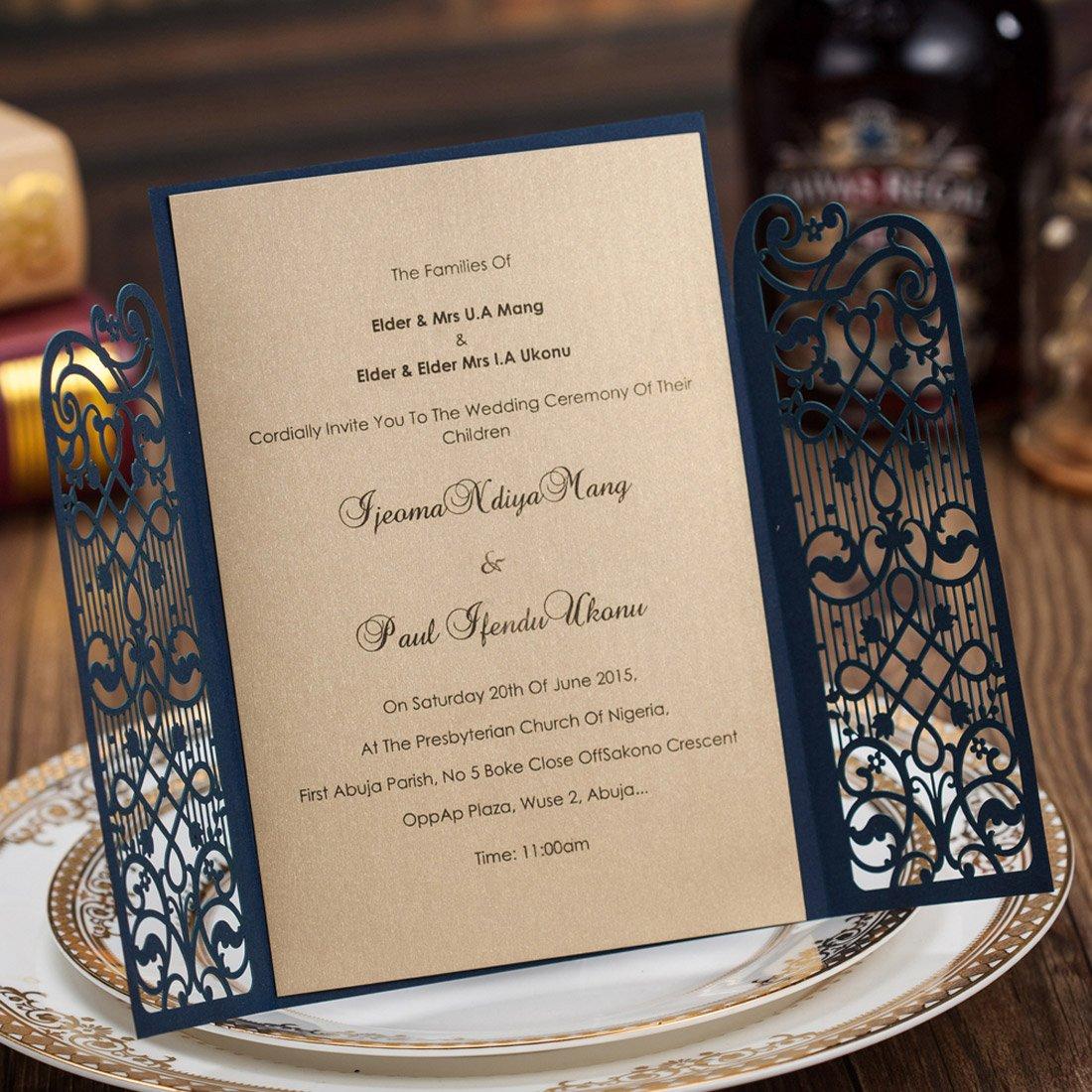 50x wishmade laser cut wedding invitations kits elegant navy blue