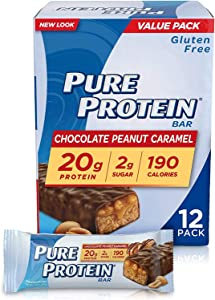 Pure Protein Bars, High Protein, Nutritious Snacks to Support Energy, Low Sugar, Gluten Free, Chocolate Peanut Caramel, 1.76oz, 12 Pack