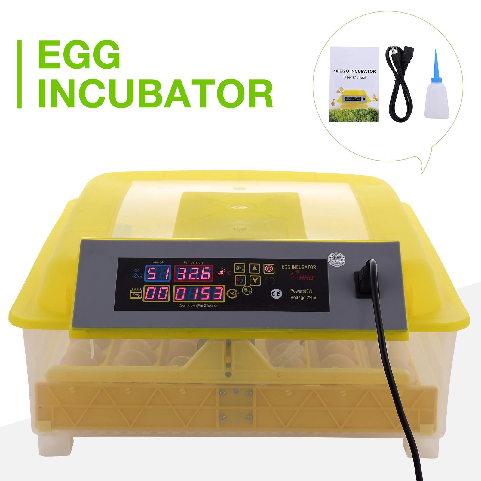 KUPPET Egg Incubator 48 Eggs 2 Layer Digital Control Panel Poultry Hatcher Auto Egg Turner (48 Eggs)