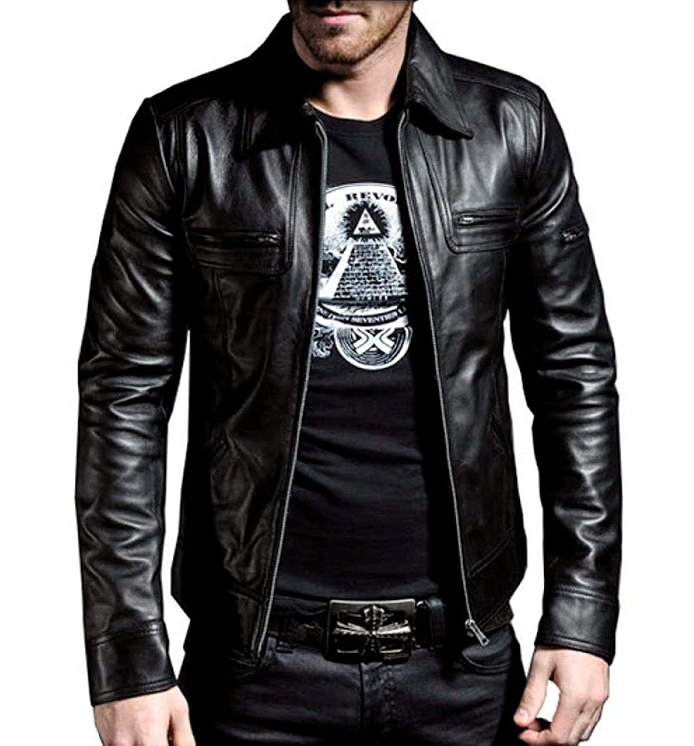Mariyam Leather Mens Lambskin Bomber Bkier Leather Jacket ML_315