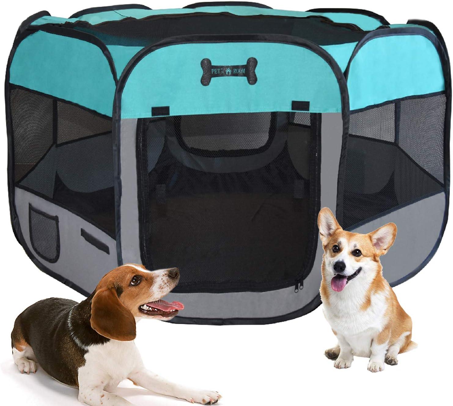 MC Star Portátil Parque Corral Oxford Cachorro Animales para Perros, Gatos, Conejos y Pequeño Animales, 125 x 125 x 64 cm, Verde