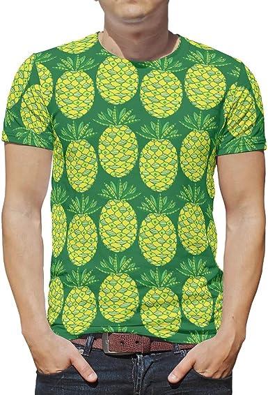 Camiseta de manga corta para hombre, diseño de piña amarilla ...