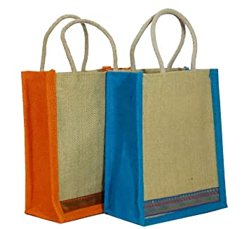 Indozy Trendy Jute lunch/gift Bag medium size with zipper two ...