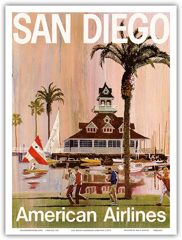 San Diego - California - American Airlines - Vintage Airline Travel Poster by Van Kaufman c.1970 - Master Art Print 9in x 12in