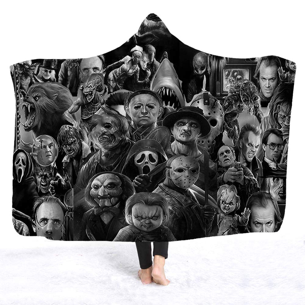 YEARGER Horror Movie Character Hooded Blanket for Adult Gothic Halloween Killers Sherpa Fleece Wearable Throw Blanket Microfiber Bedding