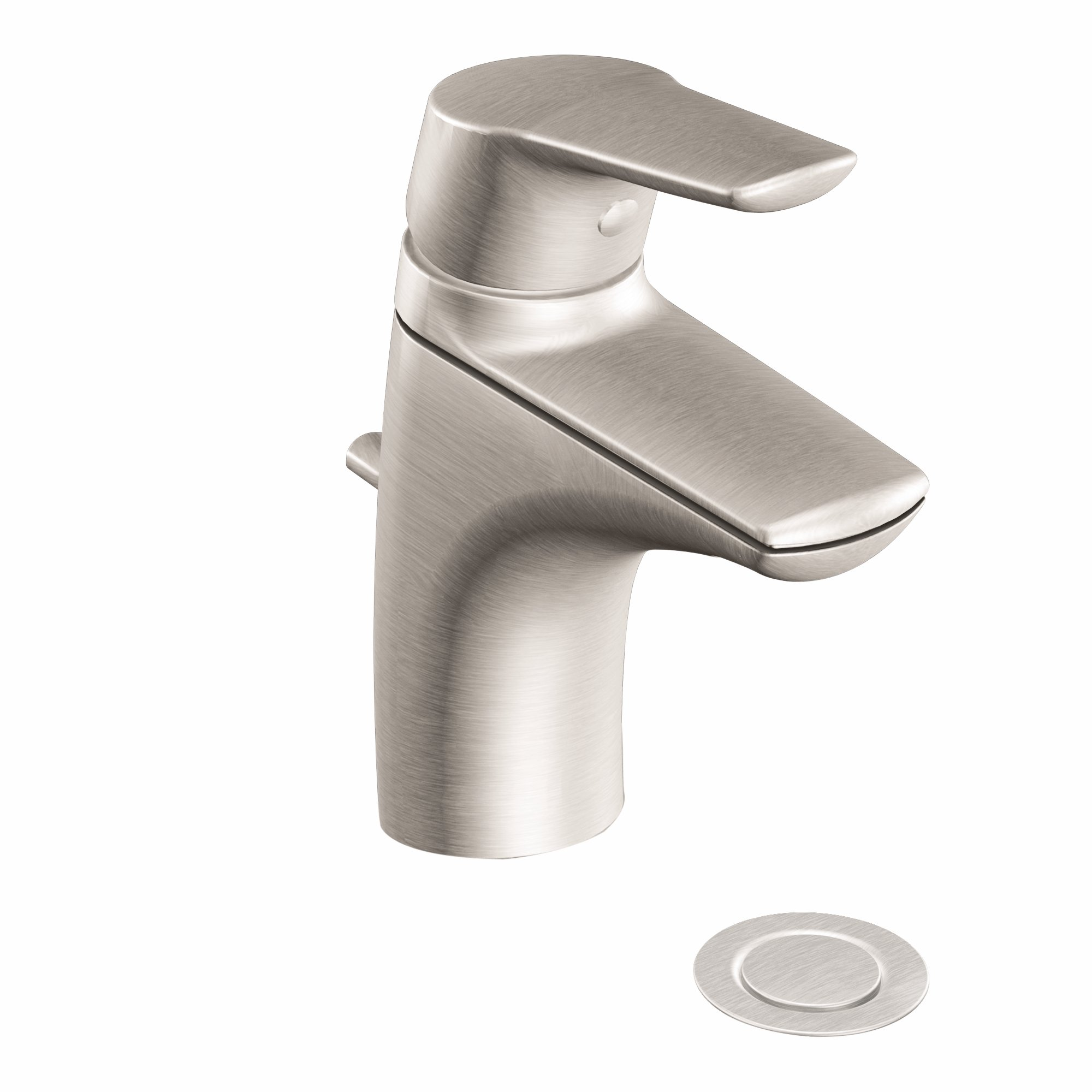 Moen 6810BN Method One-Handle Low-Arc Bathroom Faucet with Drain Assembly, Brushed Nickel by Moen