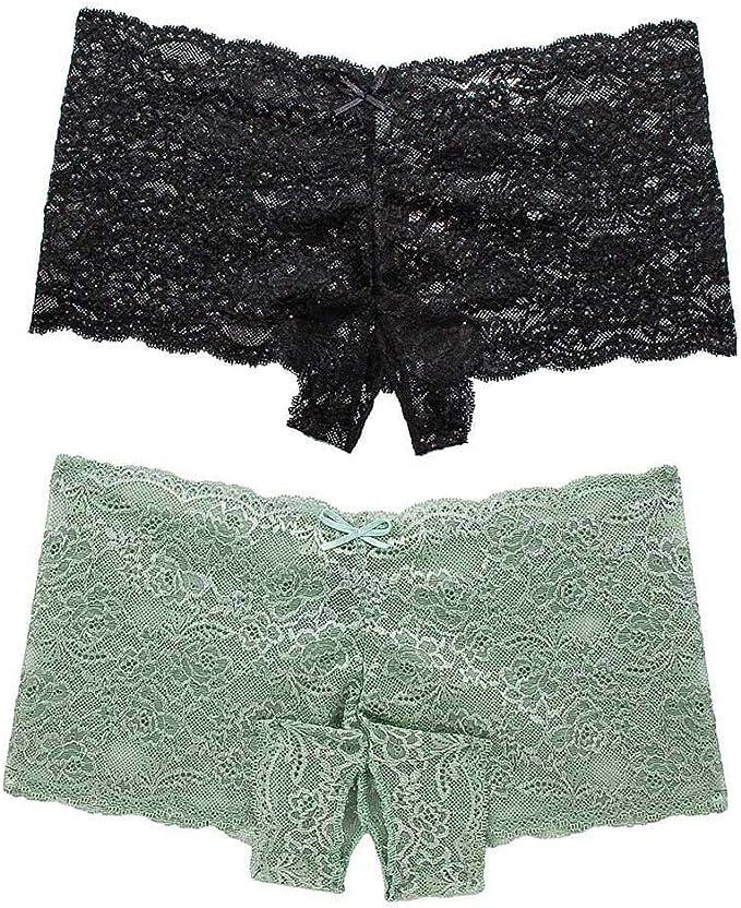RISTHY Ropa Interior para Mujer Bragas de Encaje Boyshort Tanga Lencería Sexy Cheeky Panty 2 Pack Lace Trim Low Cintura: Amazon.es: Ropa y accesorios