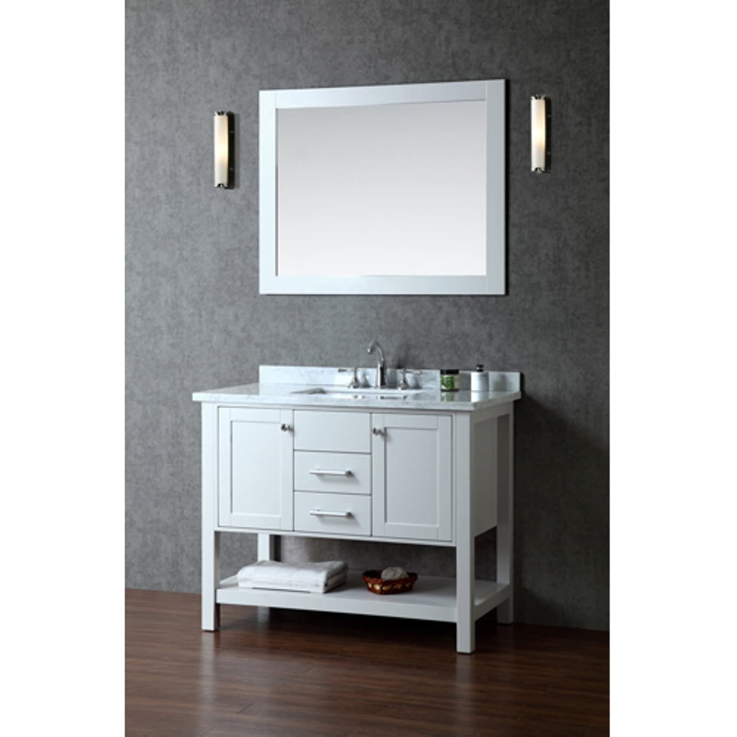 Amazon.com: Ariel SCBAY42SCG Bayhill 42 Single Sink Bathroom Vanity Set  With Marble Top Block Feet Simple Pulls And Mirror In Cloud: Kitchen U0026  Dining