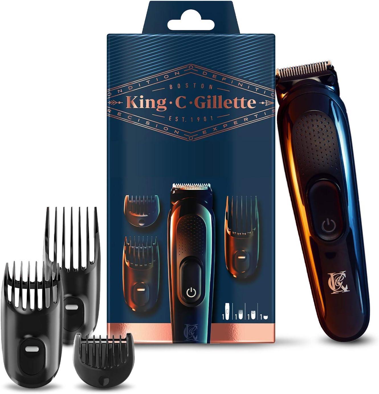 King C. Gillette Recortadora de Barba y Cortapelos Inalámbrica, con Cuchillas de Larga Duración + 3 Peines Intercambiables, Regalos Originales para Hombre