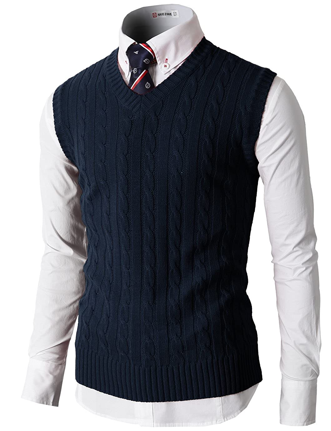 H2H Mens Casual Slim Fit Knitted Pullover Sweater Vests V-Neck Cable Patterned Solid Colors