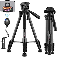 58 inch Camera Tripod for Canon Nikon Lightweight Aluminum Travel DSLR Phone Camera Tripod with 2 in 1 Phone Tablet…
