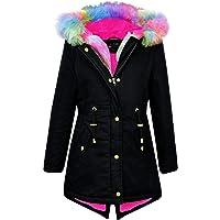Kids Hooded Jacket Girls Fur Parka School Jackets Outwear Coat 5-13 Years