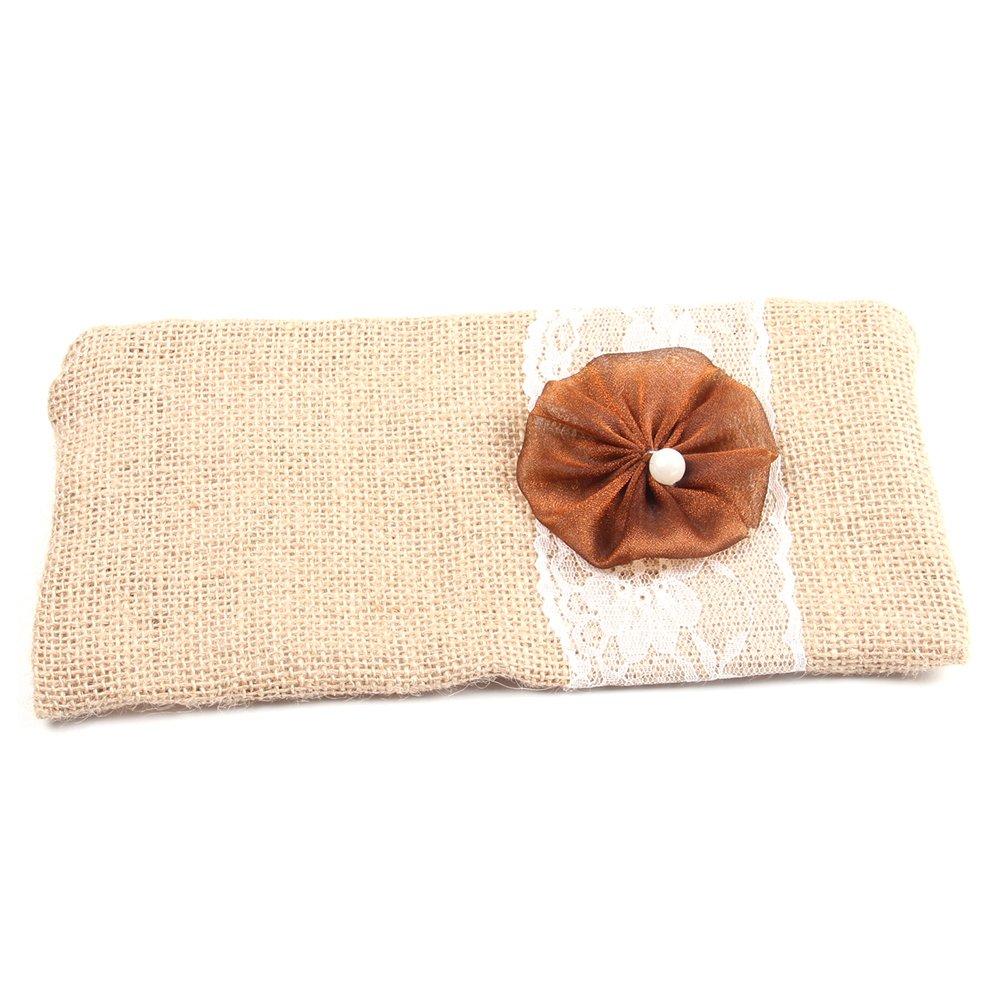 BESTOYARD Sackleinen-Clutch Bag Flower Lace Handtasche Braut Brautjungfer Make-up Tasche Hochzeitsgeschenk Gefallen (Kaffee Blume)